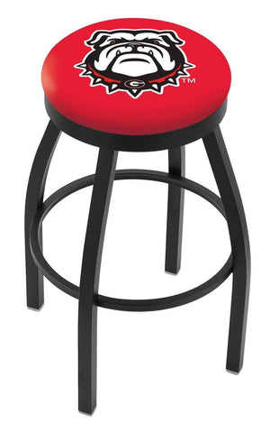 Georgia Bulldogs HBS Head Logo Black Swivel Bar Stool with Red Cushion