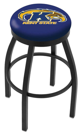 Kent State Golden Flashes HBS Black Swivel Bar Stool with Blue Cushion