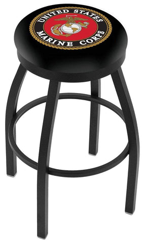 U.S. Marines Holland Bar Stool Co. Black Swivel Bar Stool with Cushion