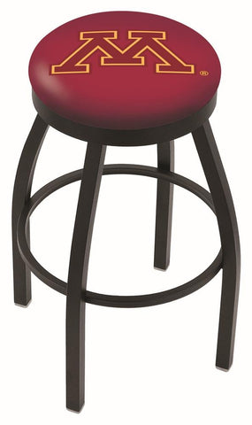Minnesota Golden Gophers HBS Black Swivel Bar Stool with Maroon Cushion