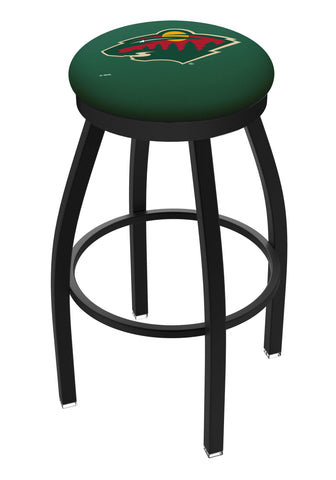 Minnesota Wild HBS Black Swivel Bar Stool with Green Cushion