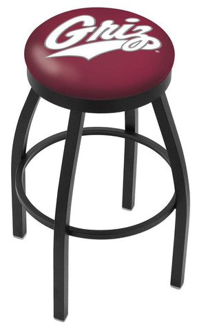 Montana Grizzlies HBS Black Swivel Bar Stool with Maroon Cushion - Sporting Up