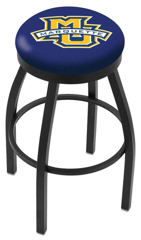 Marquette Golden Eagles HBS Black Swivel Bar Stool with Blue Cushion