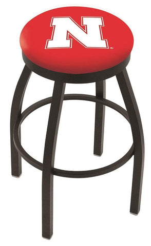 Shop Nebraska Cornhuskers HBS Black Swivel Bar Stool with Red Cushion - Sporting Up