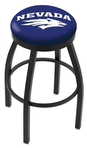 Shop Nevada Wolfpack HBS Black Swivel Bar Stool with Blue Cushion - Sporting Up