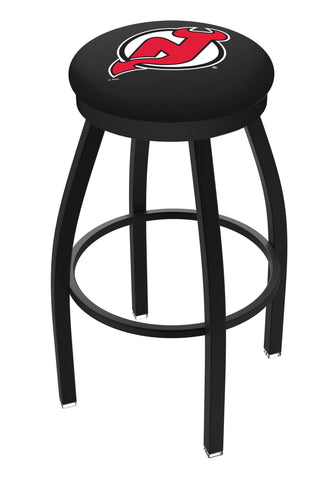 New Jersey Devils HBS Black Swivel Bar Stool with Red Cushion