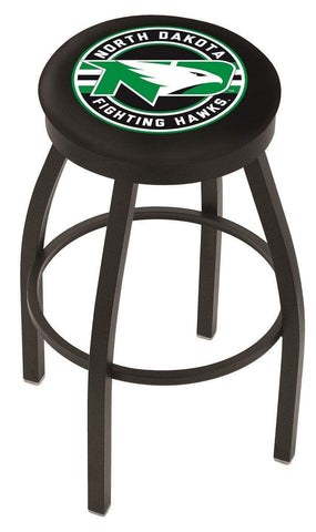 North Dakota Fighting Hawks HBS Black Swivel Bar Stool with Cushion - Sporting Up