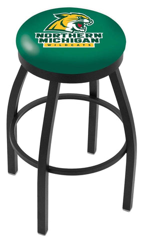 Northern Michigan Wildcats HBS Black Swivel Bar Stool with Green Cushion