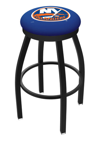 New York Islanders HBS Black Swivel Bar Stool with Blue Cushion