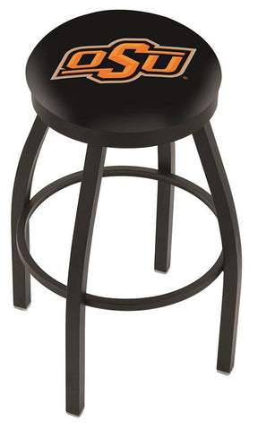 Oklahoma State Cowboys HBS Black Swivel Bar Stool with Cushion