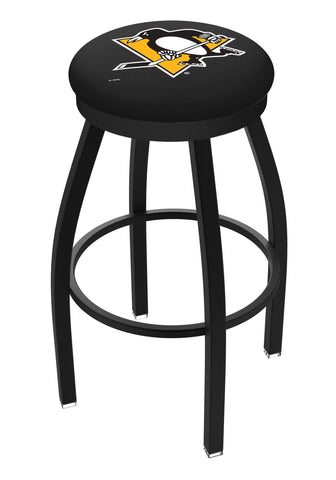 Pittsburgh Penguins HBS Black Swivel Bar Stool with Cushion