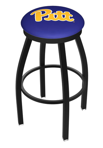 Pittsburgh Panthers HBS Black Swivel Bar Stool with Blue Cushion