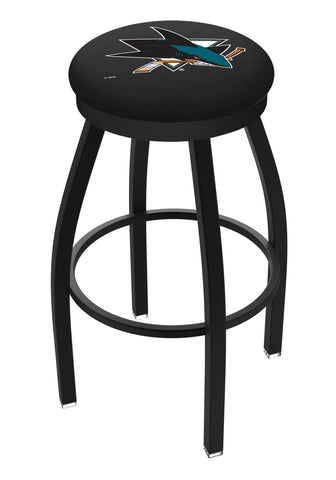 San Jose Sharks HBS Black Swivel Bar Stool with Cushion