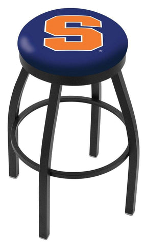 Syracuse Orange HBS Black Swivel Bar Stool with Blue Cushion