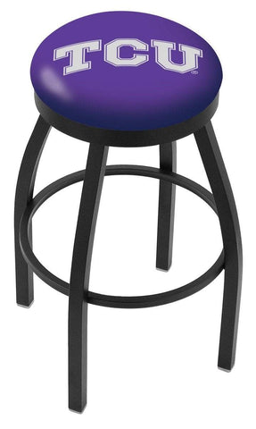 TCU Horned Frogs HBS Black Swivel Bar Stool with Purple Cushion