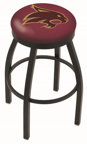 Texas State Bobcats HBS Black Swivel Bar Stool with Maroon Cushion