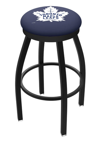 Toronto Maple Leafs HBS Black Swivel Bar Stool with Blue Cushion