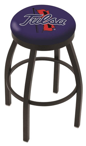 Tulsa Golden Hurricane HBS Black Swivel Bar Stool with Blue Cushion