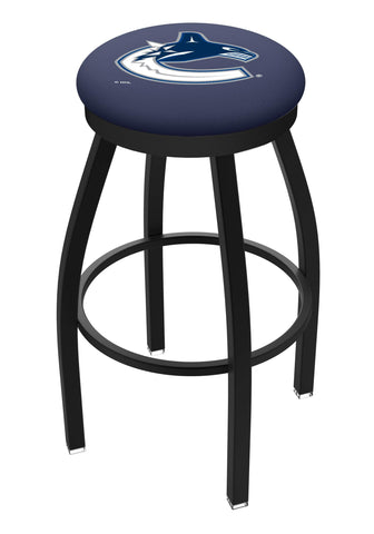 Vancouver Canucks HBS Black Swivel Bar Stool with Blue Cushion