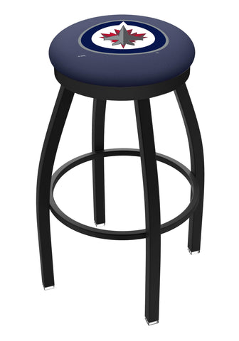 Shop Winnipeg Jets HBS Black Swivel Bar Stool with Blue Cushion - Sporting Up