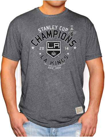 Shop Los Angeles Kings Retro Brand 2014 NHL Stanley Cup Champions 2X Gray T-Shirt