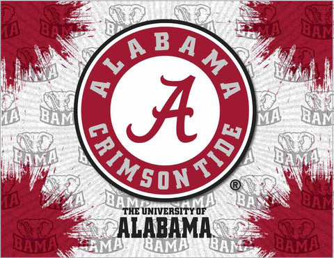 "Alabama Crimson Tide HBS Gray Red ""A"" Script Wall Canvas Art Picture Print"