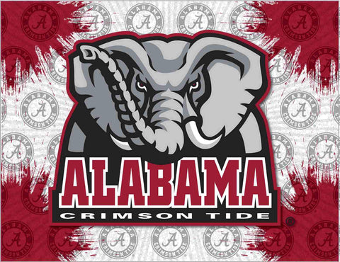 Alabama Crimson Tide HBS Gray Red Elephant Wall Canvas Art Picture Print