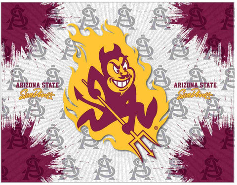Arizona State Sun Devils HBS Gray Red Devil Logo Wall Canvas Art Picture Print