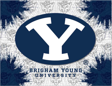 BYU Cougars HBS Gray Navy Wall Canvas Art Picture Print