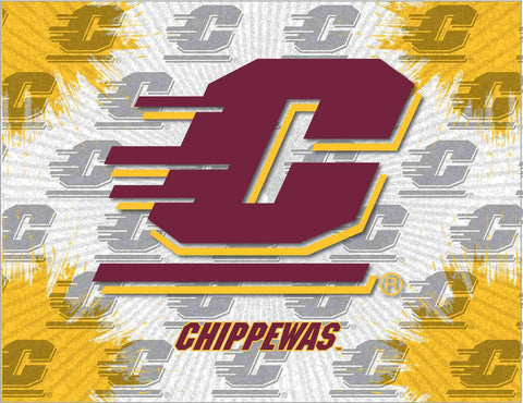 Central Michigan Chippewas HBS Gray Wall Canvas Art Picture Print - Sporting Up