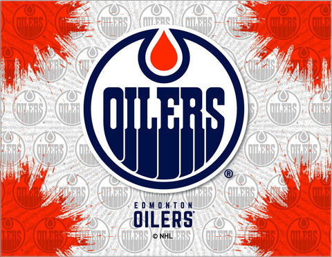 Shop Edmonton Oilers HBS Gray Orange Hockey Wall Canvas Art Picture Print - Sporting Up