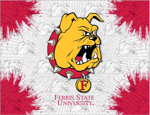 Ferris State Bulldogs HBS Gray Red Wall Canvas Art Picture Print