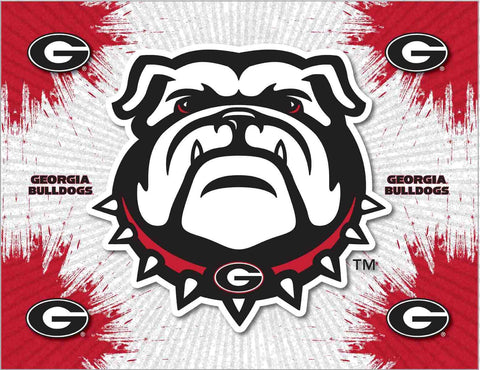 Georgia Bulldogs HBS Gray Red Dog Head Wall Canvas Art Picture Print