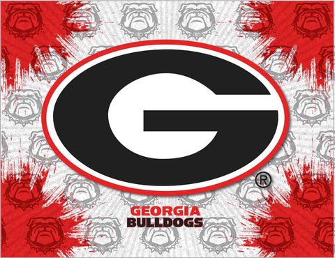 "Georgia Bulldogs HBS Gray Red ""G"" Logo Wall Canvas Art Picture Print"