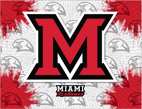 Miami University Redhawks HBS Gray Red Wall Canvas Art Picture Print