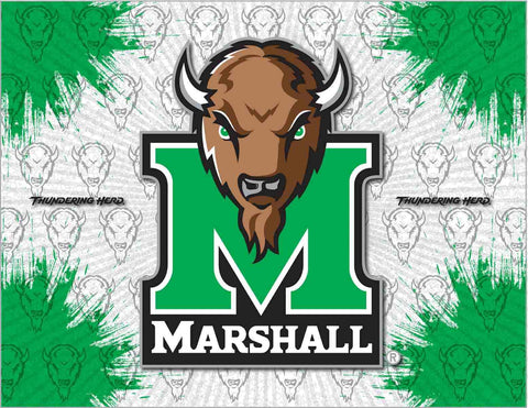 Marshall Thundering Herd HBS Gray Green Wall Canvas Art Picture Print