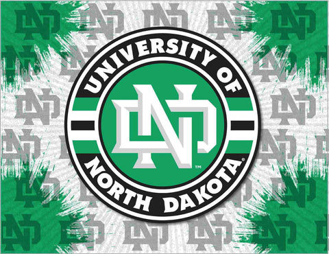 North Dakota Fighting Hawks HBS Gray Green Wall Canvas Art Picture Print - Sporting Up
