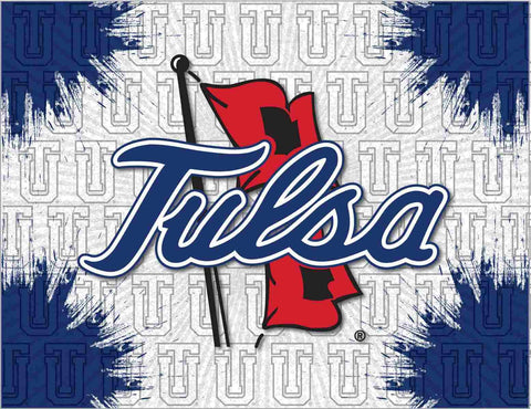 Tulsa Golden Hurricane HBS Gray Navy Wall Canvas Art Picture Print