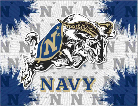 Navy Midshipmen HBS Leaping Goat Wall Canvas Art Picture Print