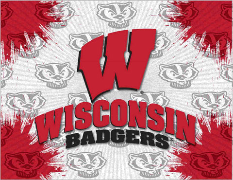 "Wisconsin Badgers HBS Gray Red ""W"" Wall Canvas Art Picture Print"
