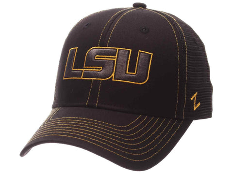 Shop LSU Tigers Zephyr Black Mesh Blackout Trucker Adjustable Snapback Hat Cap - Sporting Up