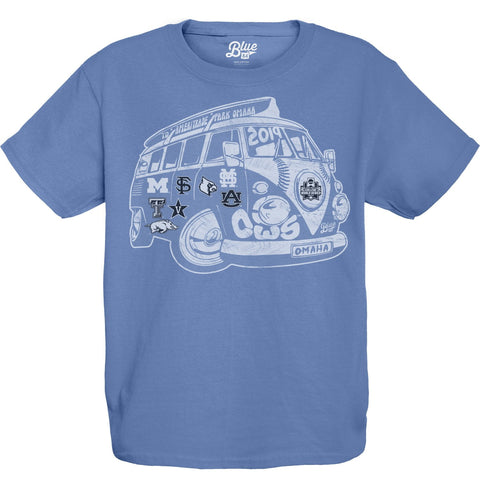2019 NCAA College World Series CWS 8 Team YOUTH Blue VW Bus T-Shirt