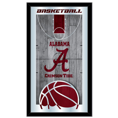 "Alabama Crimson Tide HBS Basketball Framed Hanging Glass Wall Mirror (26""x15"")"