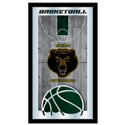 "Baylor Bears HBS Green Basketball Framed Hanging Glass Wall Mirror (26""x15"")"