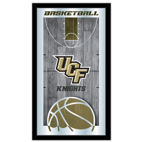 "UCF Knights HBS Black Basketball Framed Hanging Glass Wall Mirror (26""x15"")"