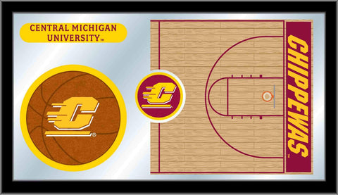 "Central Michigan Chippewas HBS Basketball Framed Glass Wall Mirror (26""x15"") - Sporting Up"