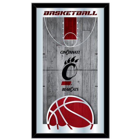 "Cincinnati Bearcats HBS Basketball Framed Hanging Glass Wall Mirror (26""x15"")"