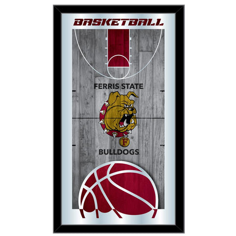 "Ferris State Bulldogs HBS Basketball Framed Hanging Glass Wall Mirror (26""x15"")"