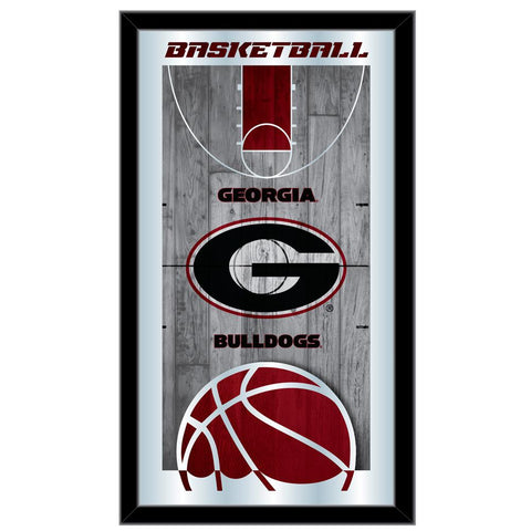 "Georgia Bulldogs HBS Red Basketball Framed Hanging Glass Wall Mirror (26""x15"")"