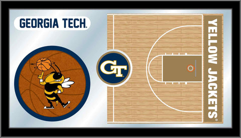 "Georgia Tech Yellow Jackets HBS Basketball Framed Glass Wall Mirror (26""x15"")"
